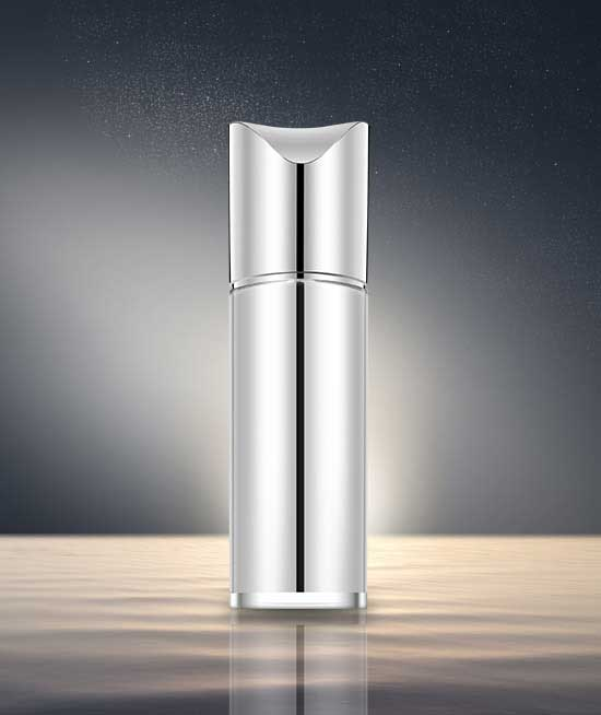 silver lotion bottle